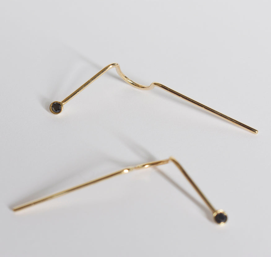 Black Diamond and Gold Needle Crawler Single Earring