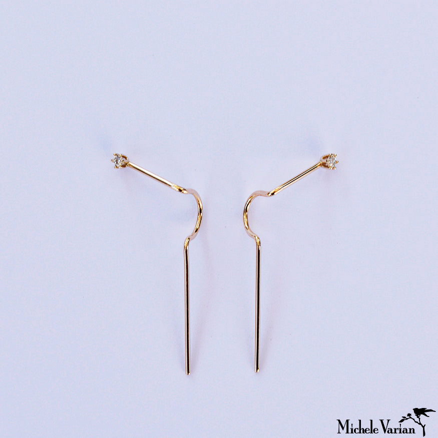 Diamond and Gold Needle Crawler Single Earring