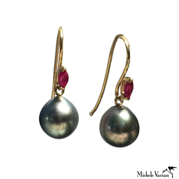 Tahitian Pearl and Ruby Dangle Earrings