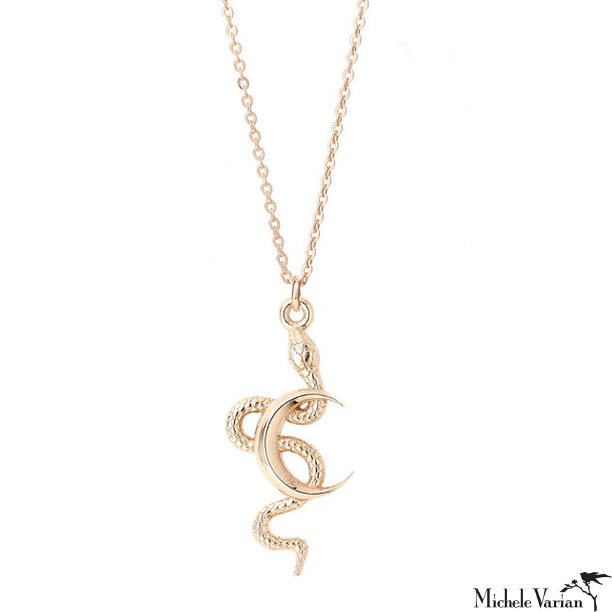Cresent and Snake Gold Necklace