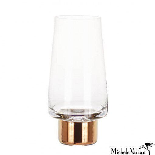 Copper Trim High Ball Glasses Pair
