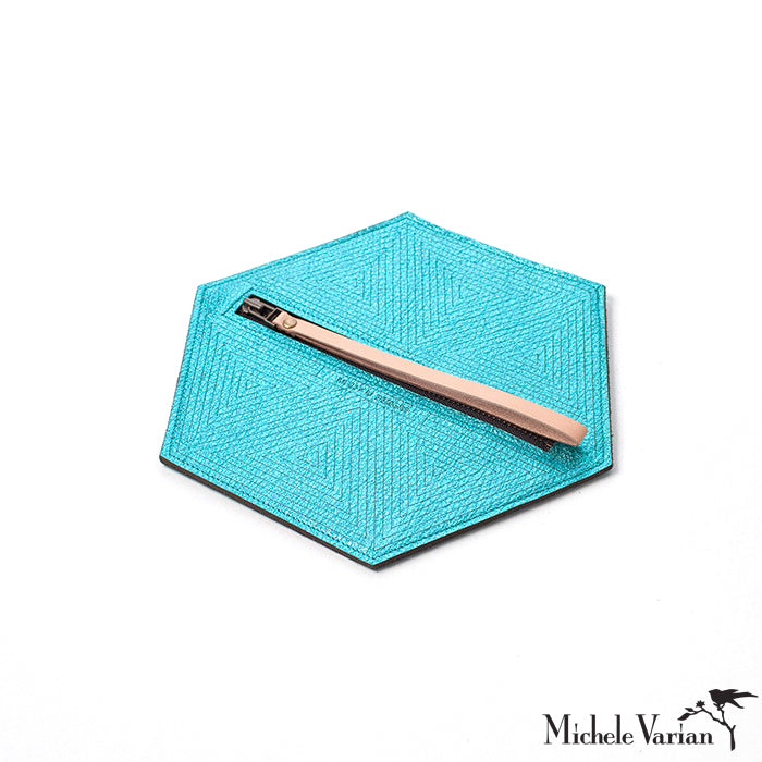 Teal Metallic Leather Hexagon Stash Pouch