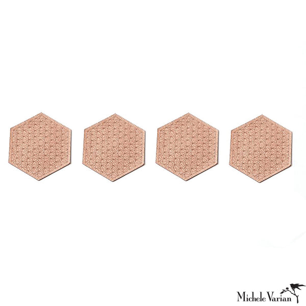 Metallic Leather Hex Coasters Copper