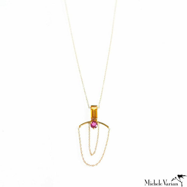 Ruby and Chain Gold Pendant