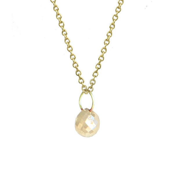 Yellow Gold Tiny Constellation Drop Necklace with Peach Grey Diamond