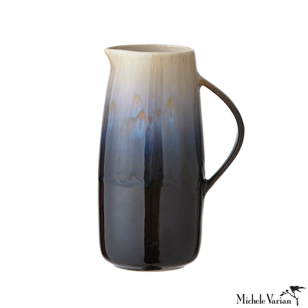 Ceramic Pitcher Dark Topaz Blue Glossy Glaze