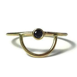 Gold Arc Ring With Black Diamond