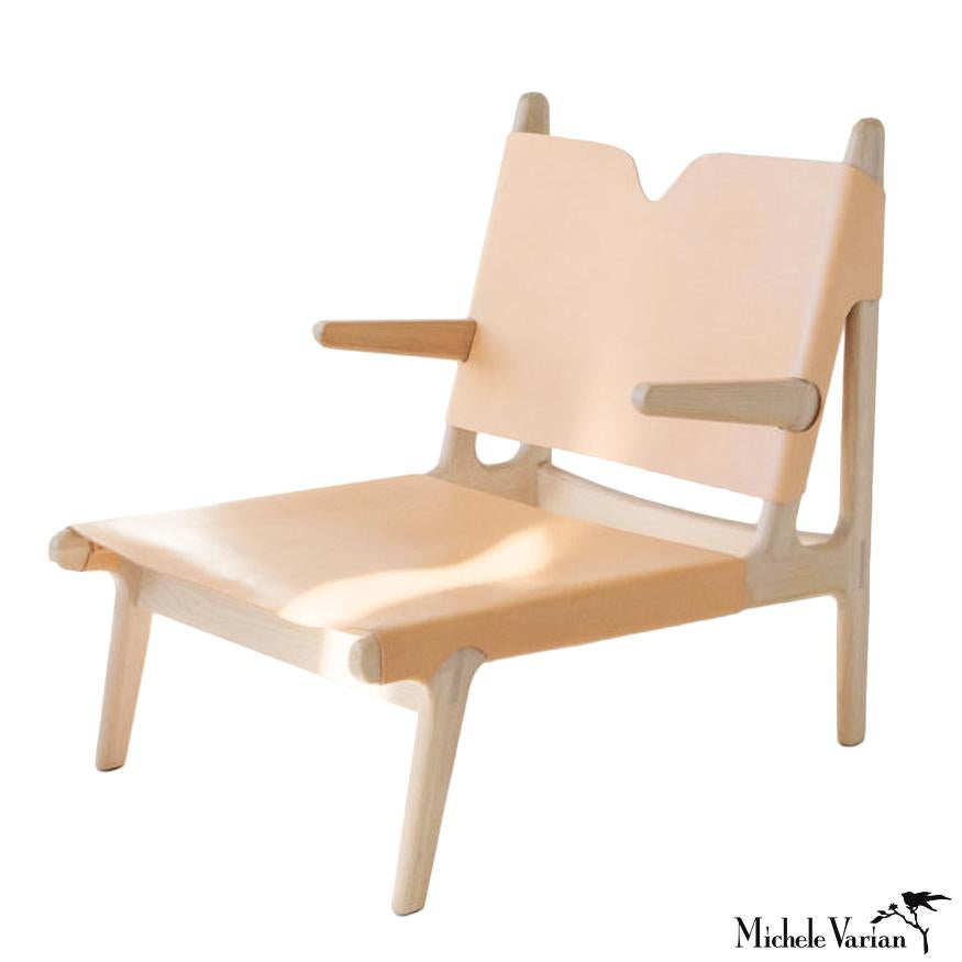 Simple Leather and Oak Lounge Chair in Nude