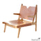 Simple Leather and Oak Lounge Chair Umber High