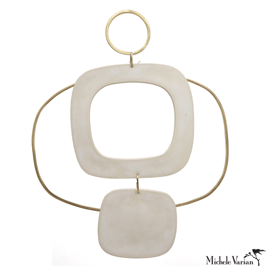 Deco Brass and Ceramic Wall Hanging 9