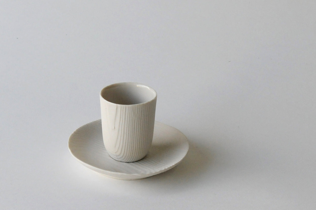 Woodgrain Porcelain Espresso Cup and Saucer