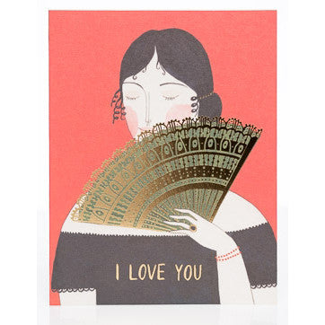 I Love You Gold Foil Fan Card