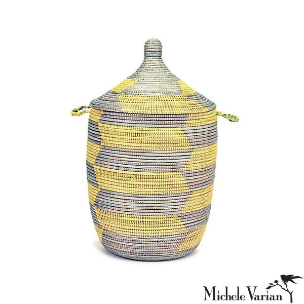Woven Lidded Laundry or Storage Basket