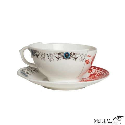 Juxtaposed Zora Porcelain Teacup and Saucer