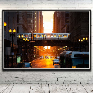 City Street Light Metro Chicago Train Art Silk Poster Home Decor Picture 12x18 16X24 20x30 24x36 Inches (Unframed)