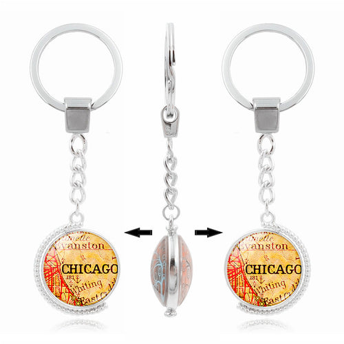 Chicago Map Double Sided Keychain