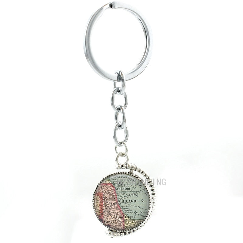 Chicago Map  Pendant Keychain