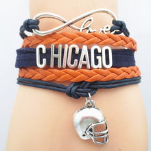 Load image into Gallery viewer, Infinity Love Chicago Sports Team Bracelet - Blue and Orange