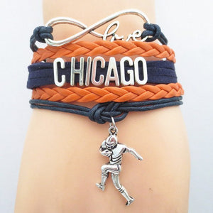 Infinity Love Chicago Sports Team Bracelet - Blue and Orange