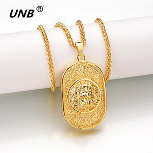 Gold-Color Lion Head Chicago Shield - Round Necklace Pendant - Men and Women