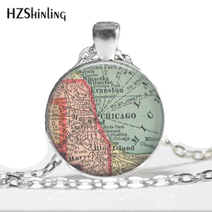 Glass Dome Chicago Map Necklace Jewelry