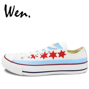 Wen Hand Painted Unisex Casual Shoes - Chicago Flag - Men and Women's Low Top White Canvas