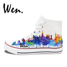 Load image into Gallery viewer, Hand Painted Shoes - Chicago City Skyline - Men and Women Canvas Sneakers