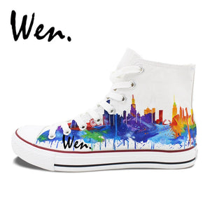 Hand Painted Shoes - Chicago City Skyline - Men and Women Canvas Sneakers