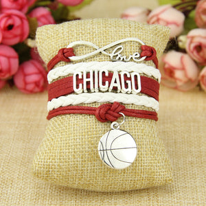 Infinity Love Chicago Team Bracelet - White and Red Sports