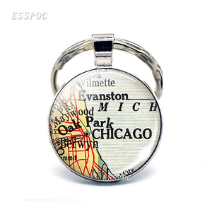 Chicago Map Glass Pendant Keychain