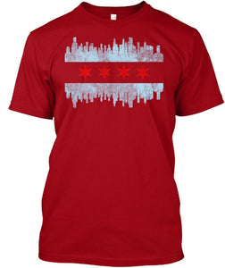 Distressed Chicago Skyline Flag T-Shirt