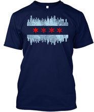 Load image into Gallery viewer, Distressed Chicago Skyline Flag T-Shirt
