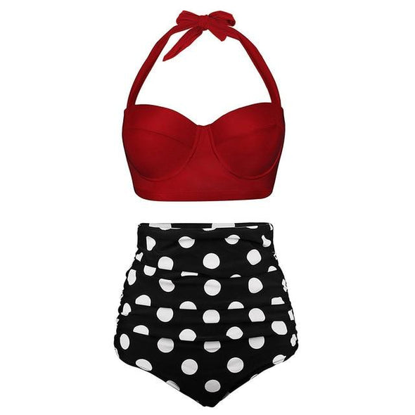 Wine Red Polka Halter Swimsuit