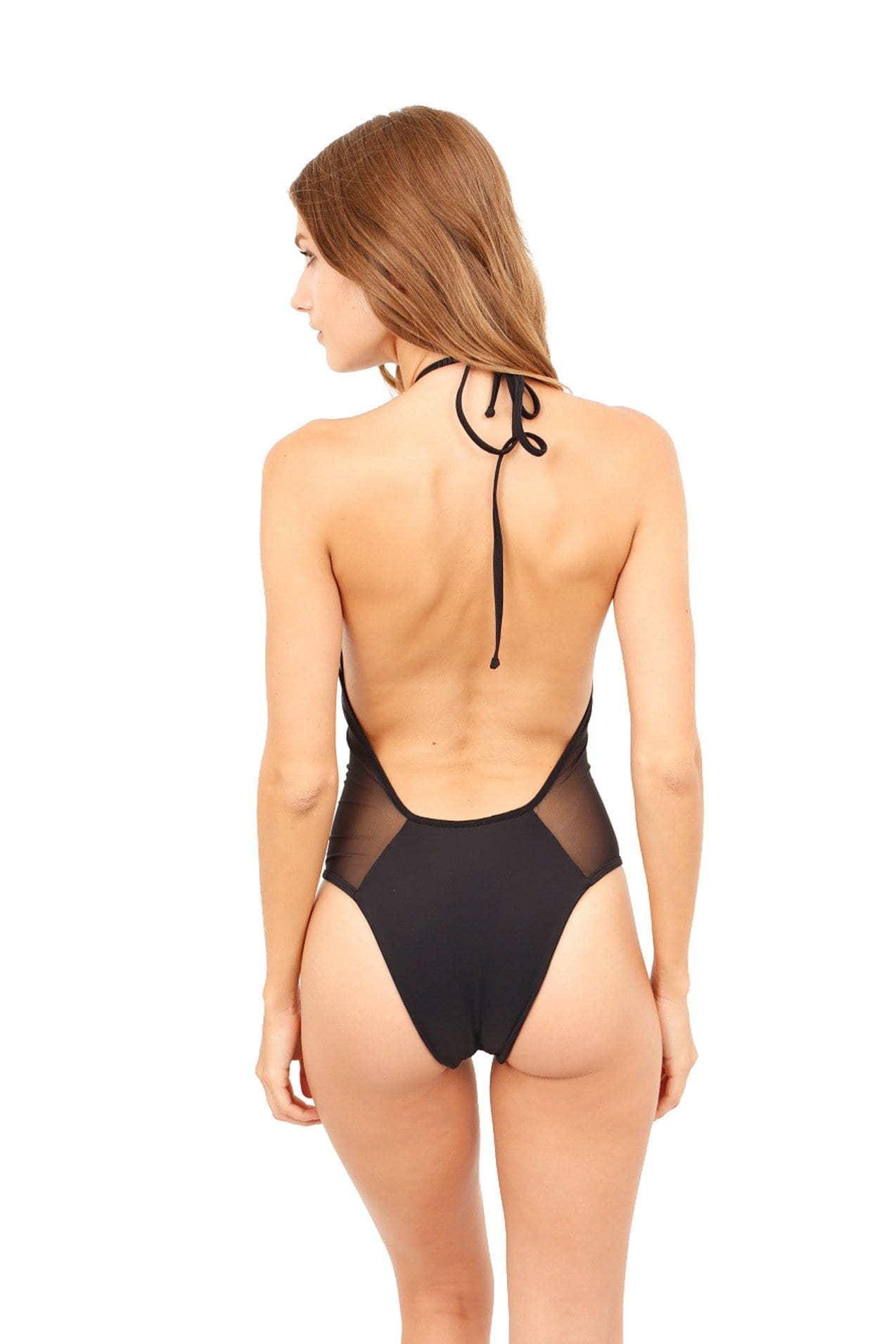Brooklyn One Piece Black Mesh Full Cut