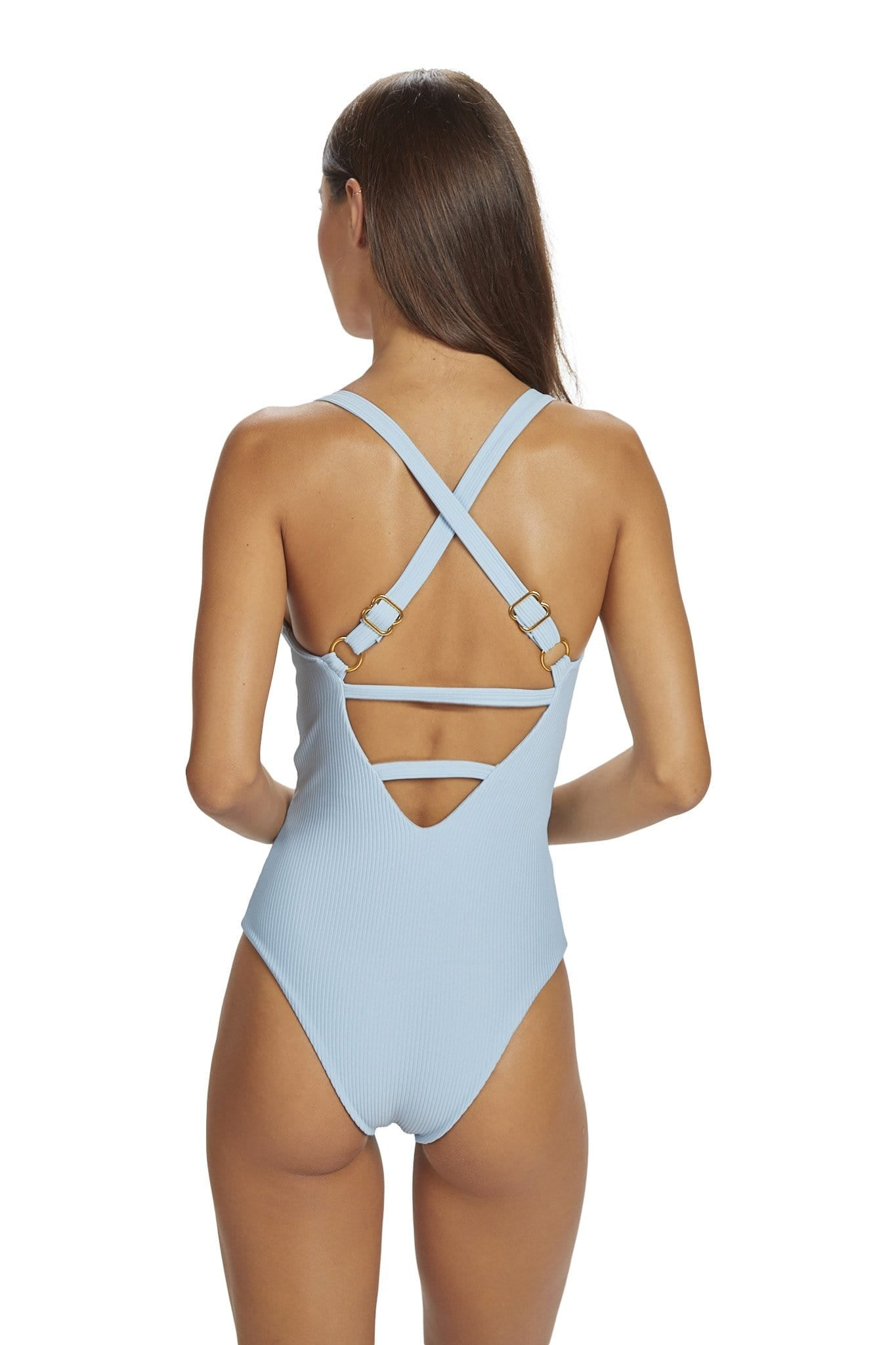 Kailua One Piece Cheeky Coverage Baby Blue Rib