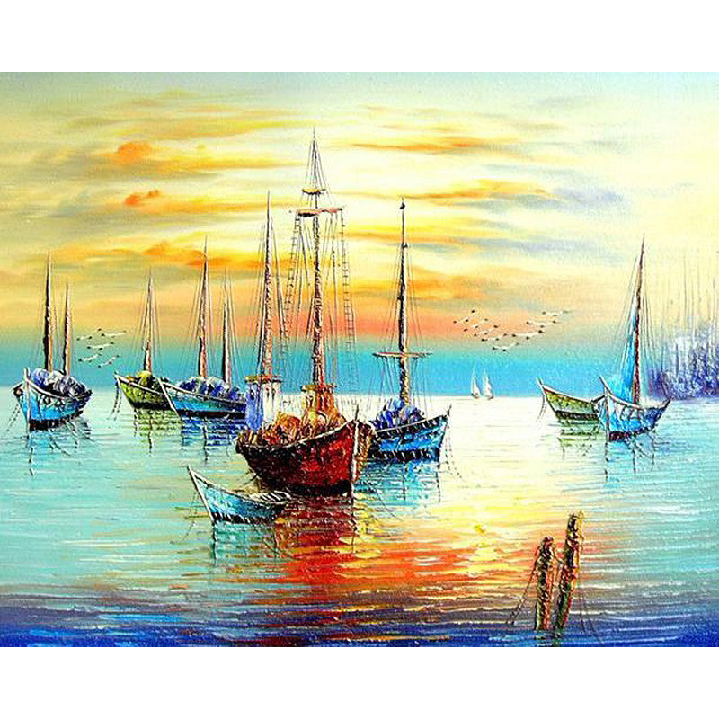 Sailing Boats Anchored At Sunset - Paint By Numbers Kit - 40x50
