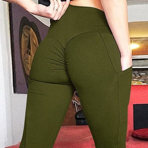 Booty Lifting Leggings + Pockets - Army Green / L