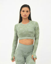 Load image into Gallery viewer, Camo Seamless <br>Long Sleeve<br>Crop Top