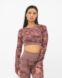 Camo Seamless <br>Long Sleeve<br>Crop Top