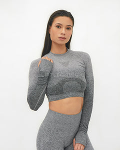 Ombre Seamless <br>Long Sleeve Crop Top