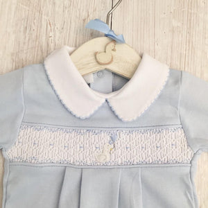 Little Swan Prince Baby Blue Boys Hand Smocked Romper Babygrow Sleepsuit Luxury Pima Cotton for Christening, Baby Shower, Wedding Outfit