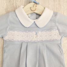 Load image into Gallery viewer, Little Swan Prince Baby Blue Boys Hand Smocked Romper Babygrow Sleepsuit Luxury Pima Cotton for Christening, Baby Shower, Wedding Outfit