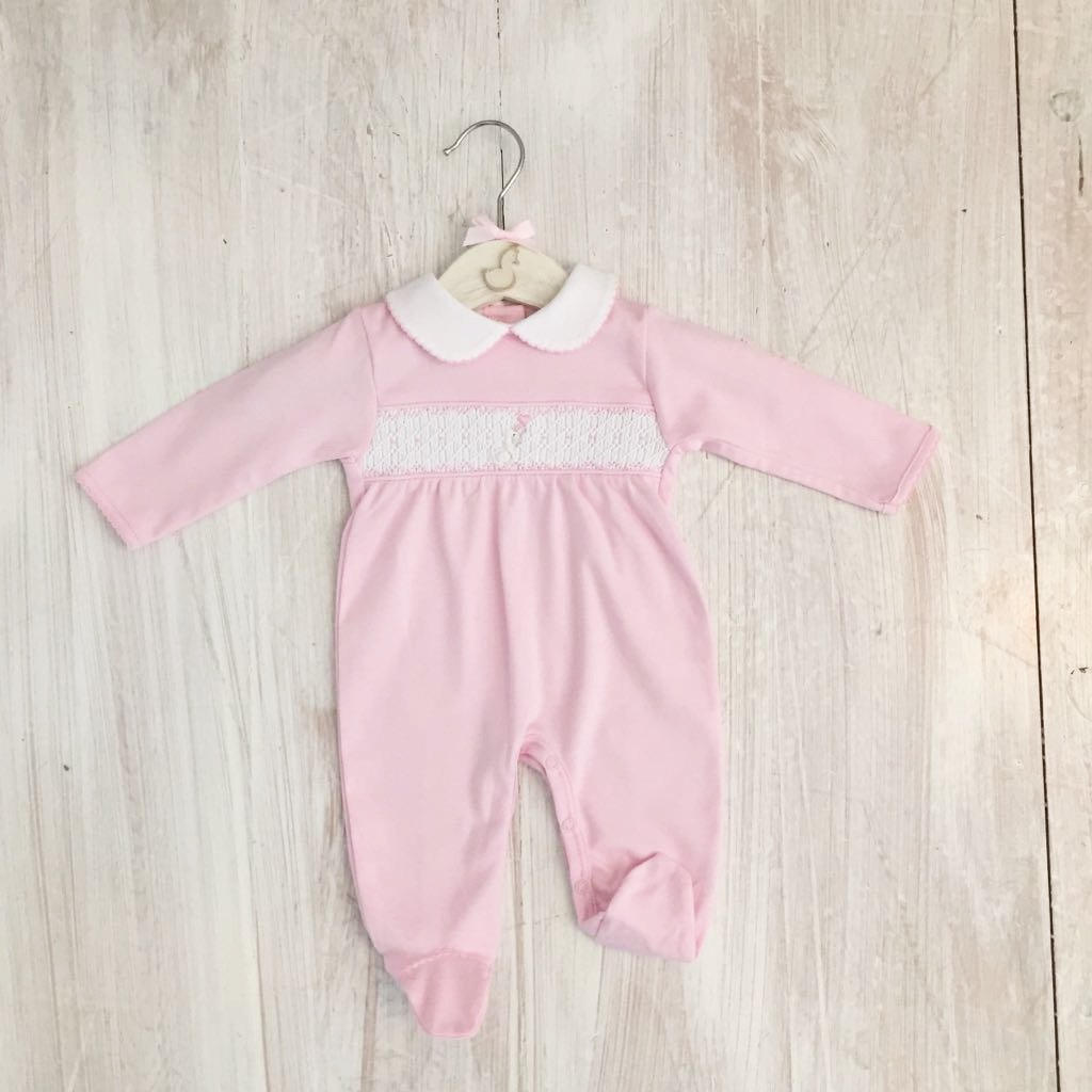Little Swan Princess Baby Pink Girls Hand Smocked Romper Babygrow Sleepsuit Luxury Pima Cotton for Christening, Baby Shower, Wedding Outfit