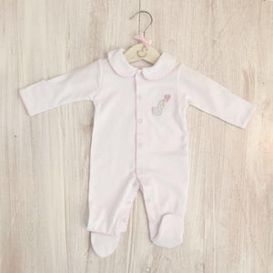 Little Swan Princess White Baby Grow Sleepsuit with Pink Picot Trim Collar Scratch Mittens Luxurious Soft Pima Cotton Baby Girl