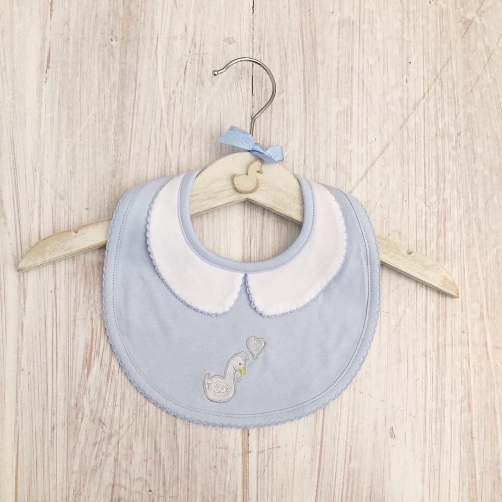 Little Swan Prince Baby Blue Peter Pan Collar Baby Bib Blue White Swan Pima Cotton Baby Shower Gift Christening Gift