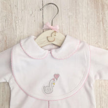 Load image into Gallery viewer, Little Swan Princess Baby Pink with Picot Trim Pima Cotton Luxury Bib White Swan Baby Shower Gift Christening Gift Outfit