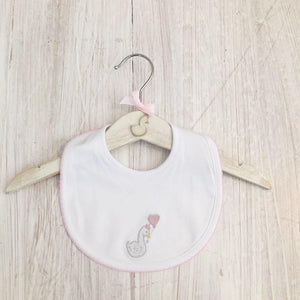Little Swan Princess Baby Pink with Picot Trim Pima Cotton Luxury Bib White Swan Baby Shower Gift Christening Gift Outfit