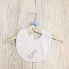 Load image into Gallery viewer, Little Swan Prince Baby Blue with Picot Trim Pima Cotton Luxury Bib White Swan Baby Shower Gift Christening Gift Outfit