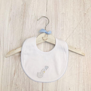 Little Swan Prince Baby Blue with Picot Trim Pima Cotton Luxury Bib White Swan Baby Shower Gift Christening Gift Outfit