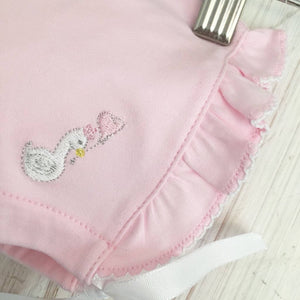 Little Swan Princess  Pink Picot Trim Luxury Pima Cotton Frilly Baby Bonnet New Born Gift Baby Gift Baby Girl 0-12 months Matching Bonnet